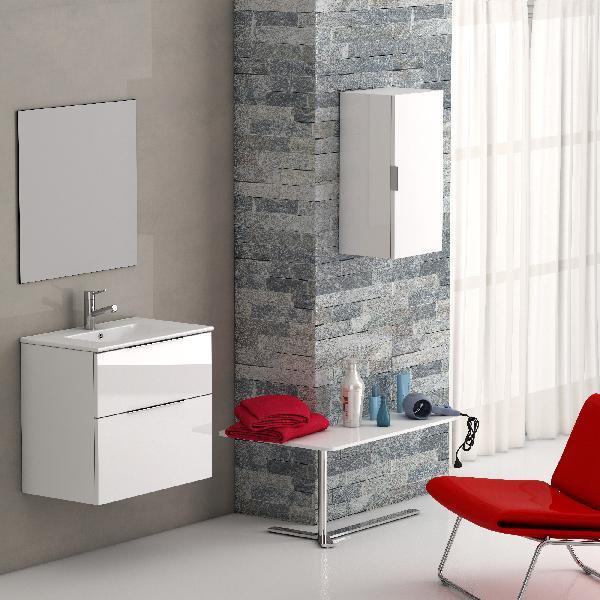 Meuble salle de bain 2 tiroirs GALSAKY Blanc 80x60x45cm