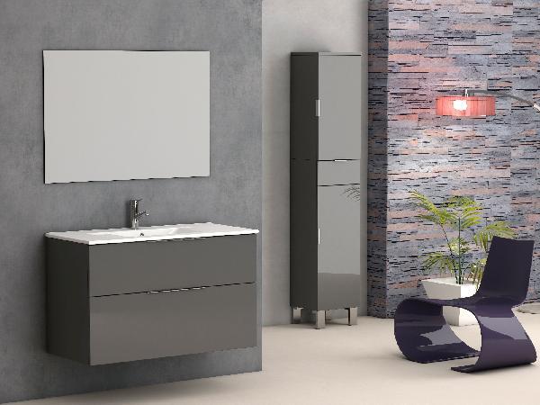 meuble salle de bain 2 tiroirs galsaky gris 60cm