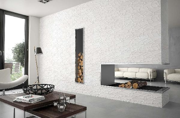 Faïence décor mojave GLACIAR blanc rectifié mat 30x90cm Ep.12mm