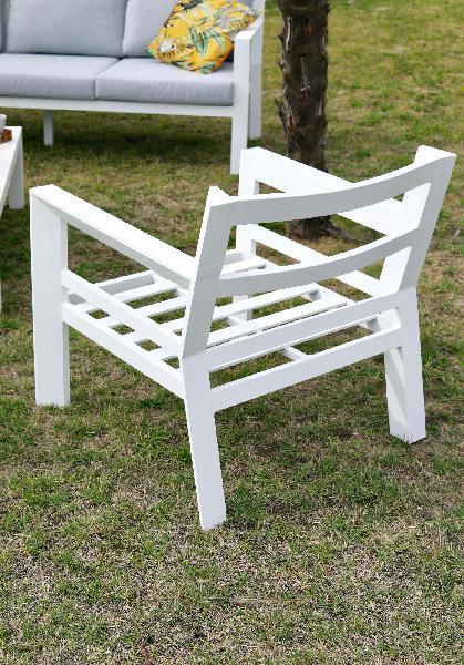 Salon de jardin alu SAKURA gris blanc