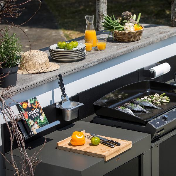 Module cuisine acier galva pour plancha MODULO H.115cm L80cm P.60cm