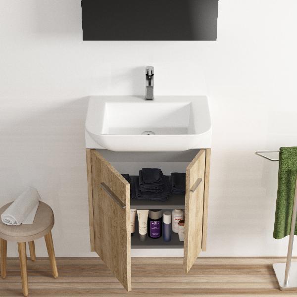 Lave-mains VECO avec miroir chêne naturel 68x55x38