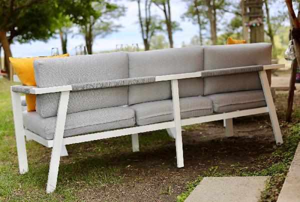 Salon de jardin aluminium CHANVRE blanc gris